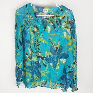 Chicos Sheer Floral V Neck Blouse M L Teal Blue